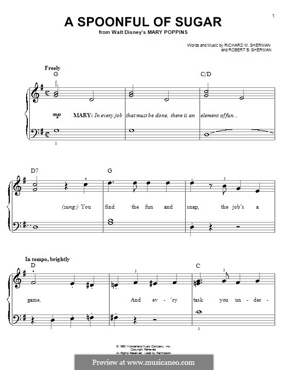 A Spoonful of Sugar: For easy piano by Richard M. Sherman, Robert B. Sherman