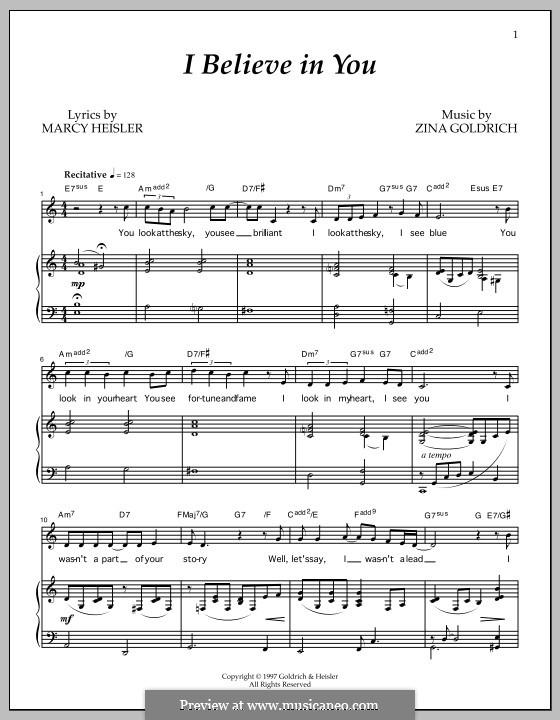 I Believe in You: Für Stimme und Klavier by Marcy Heisler, Zina Goldrich