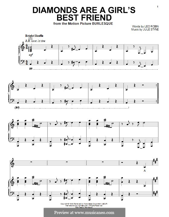 Diamonds are a Girl's Best Friend (Marilyn Monroe): Für Stimme und Klavier (oder Gitarre) by Jule Styne