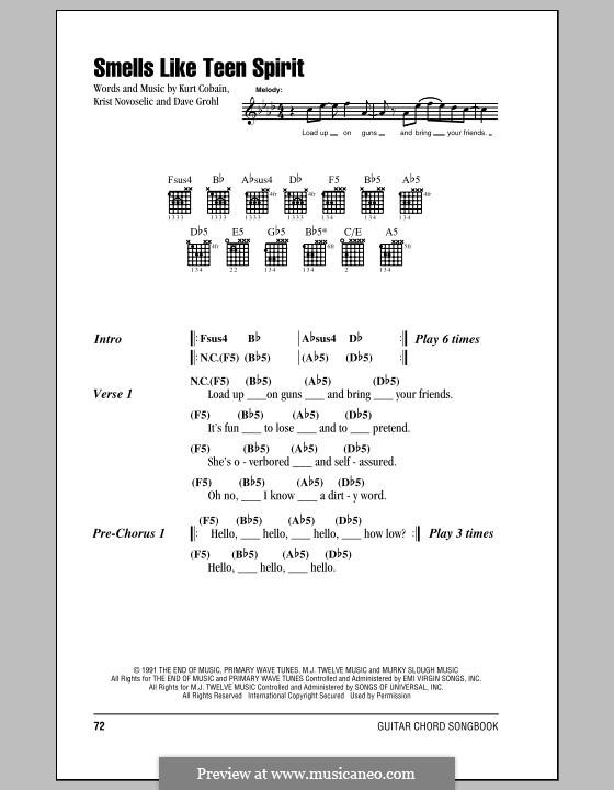 Smells Like Teen Spirit (Nirvana): Text und Akkorde by David Grohl, Krist Novoselic, Kurt Cobain