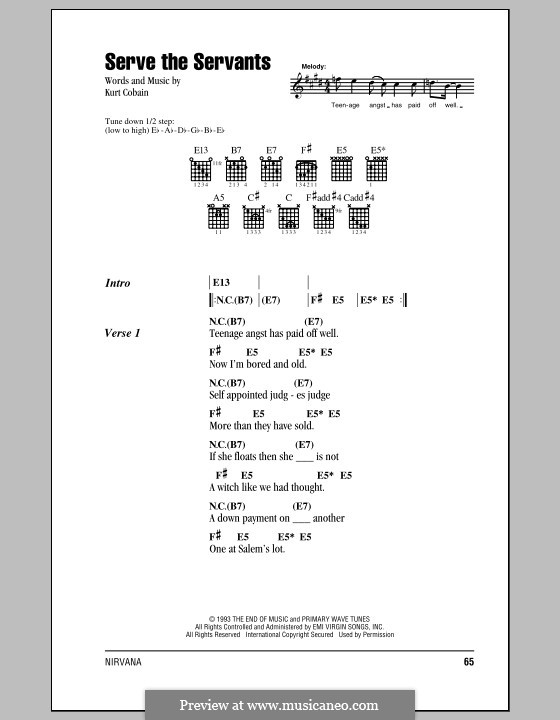 Serve the Servants (Nirvana): Text und Akkorde by Kurt Cobain