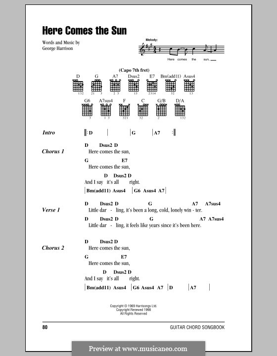 Here Comes the Sun (The Beatles): Text und Akkorde by George Harrison