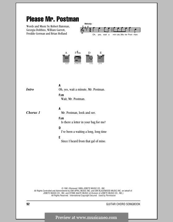 Please Mr. Postman: Text und Akkorde by Brian Holland, Freddie Gorman, Georgia Dobbins, Robert Bateman, William Garrett