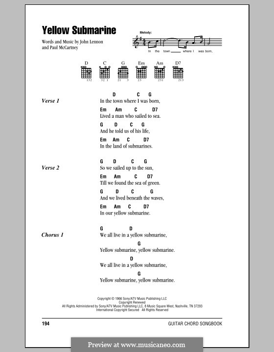 Yellow Submarine (The Beatles): Text und Akkorde by John Lennon, Paul McCartney
