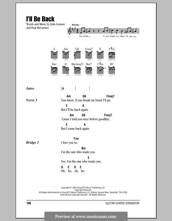 I'll Be Back (The Beatles): Text und Akkorde by John Lennon, Paul McCartney