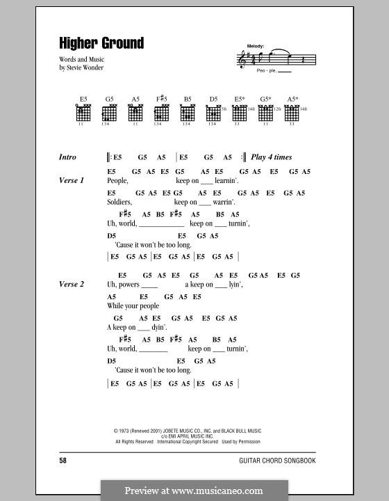 Higher Ground: Text und Akkorde by Stevie Wonder