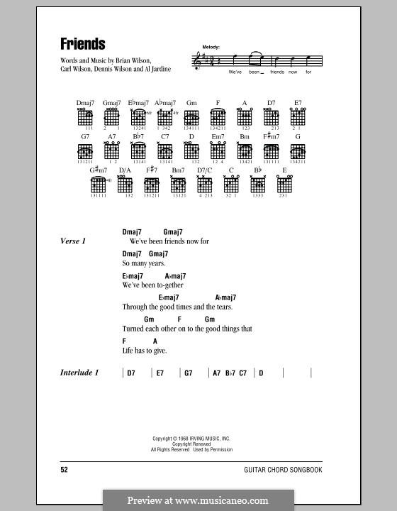 Friends (The Beach Boys): Text und Akkorde by Al Jardine, Brian Wilson, Carl Wilson, Dennis Wilson
