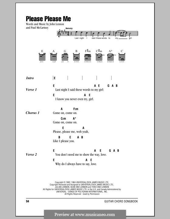 Please Please Me (The Beatles): Text und Akkorde by John Lennon, Paul McCartney