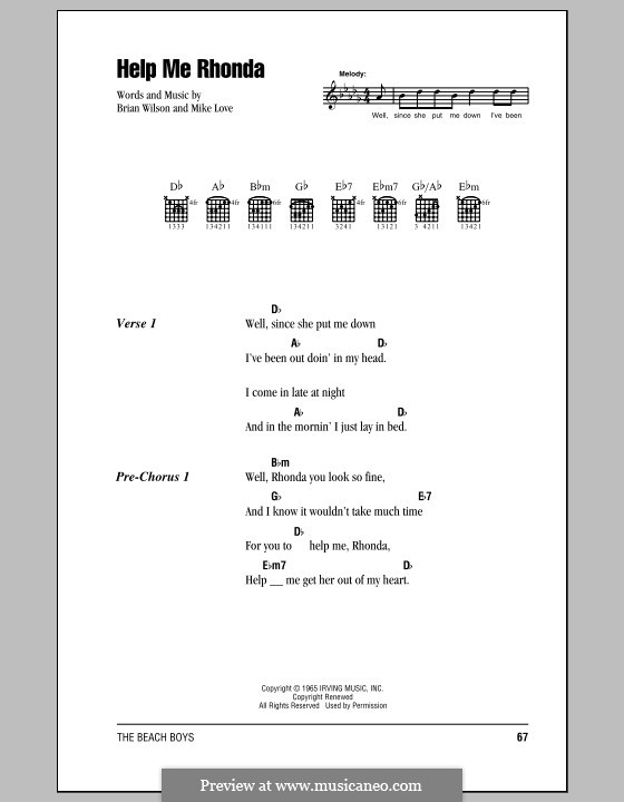 Help Me Rhonda (The Beach Boys): Text und Akkorde by Brian Wilson, Mike Love
