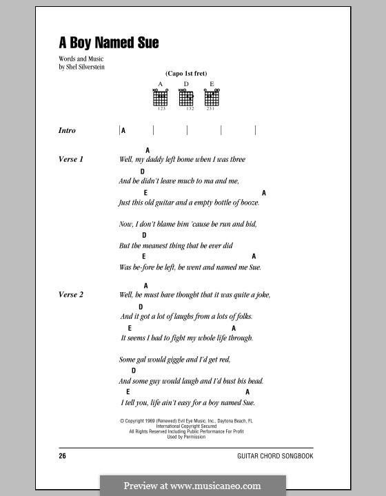 A Boy Named Sue (Johnny Cash): Text und Akkorde by Shel Silverstein