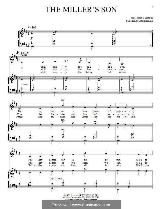 The Miller's Son: Für Stimme und Klavier by Stephen Sondheim