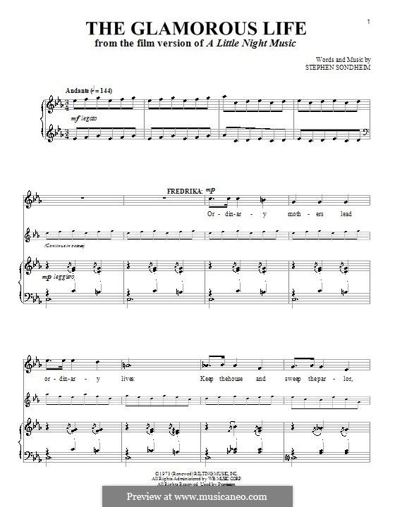 The Glamorous Life: Für Stimme und Klavier by Stephen Sondheim
