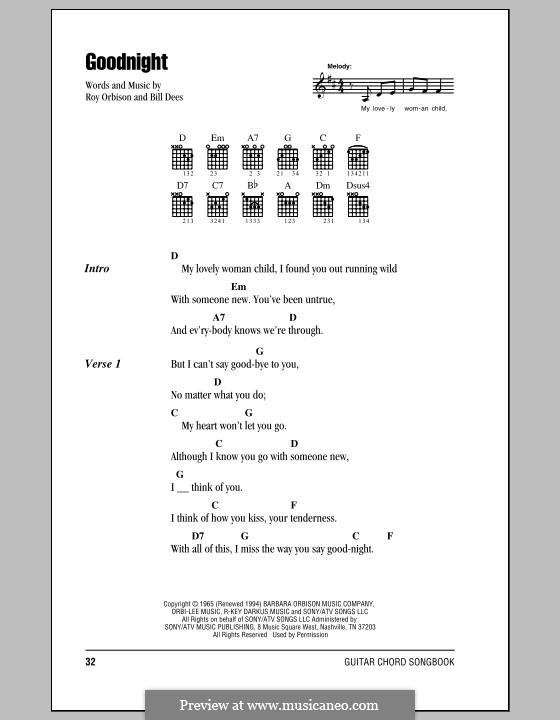 Goodnight: Text und Akkorde by Bill Dees
