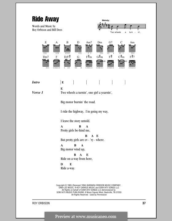 Ride Away: Text und Akkorde by Bill Dees