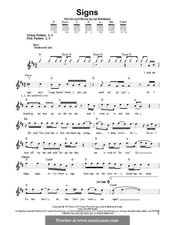 Signs (Five Man Electrical Band): Für Gitarre (Sehr leichte Fassung) by Les Emmerson