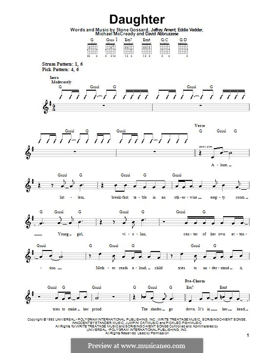 Daughter (Pearl Jam): Für Gitarre (Sehr leichte Fassung) by David Abbruzzese, Eddie Vedder, Jeff Ament, Mike McCready, Stone Gossard