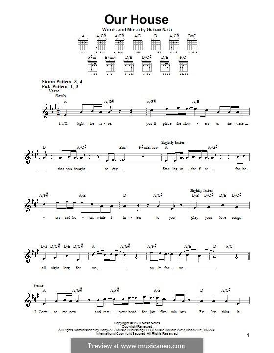 Our House (Crosby, Stills & Nash): Für Gitarre (Sehr leichte Fassung) by Graham Nash