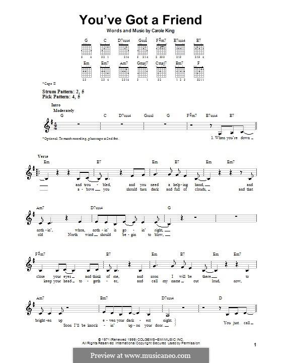You've Got a Friend: Für Gitarre (Sehr leichte Fassung) by Carole King
