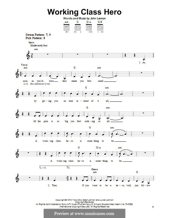 Working Class Hero: Für Gitarre (Sehr leichte Fassung) by John Lennon