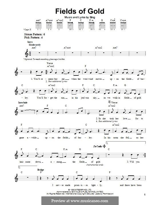 Fields of Gold: Für Gitarre (Sehr leichte Fassung) by Sting