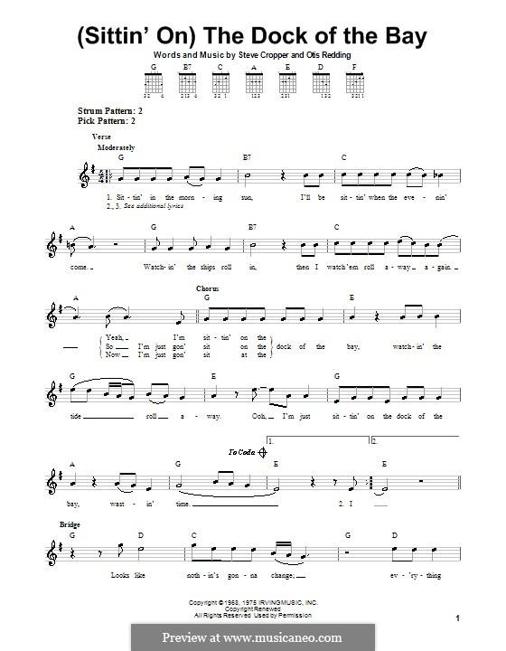 (Sittin' On) The Dock of the Bay: Für Gitarre (Sehr leichte Fassung) by Otis Redding, Steve Cropper