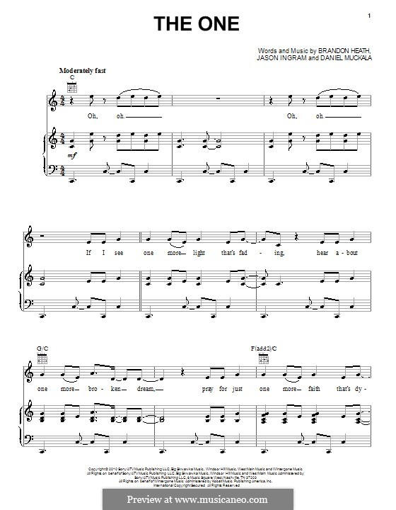 The One (Brandon Heath): Für Stimme und Klavier (oder Gitarre) by Dan Muckala, Jason David Ingram