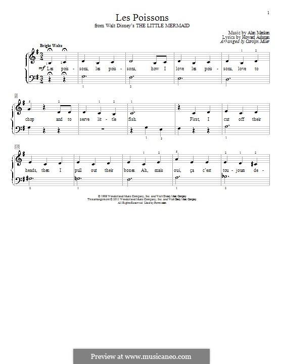 Les Poissons (from The Little Mermaid): Für Klavier by Alan Menken