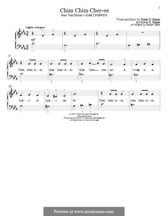 Chim Chim Cher-ee (from Mary Poppins): Für Klavier (C Minor) by Richard M. Sherman, Robert B. Sherman