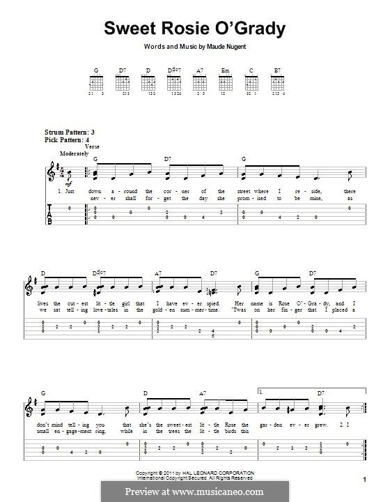Sweet Rosie O'Grady: Für Gitarre (Sehr leichte Fassung) by Maude Nugent