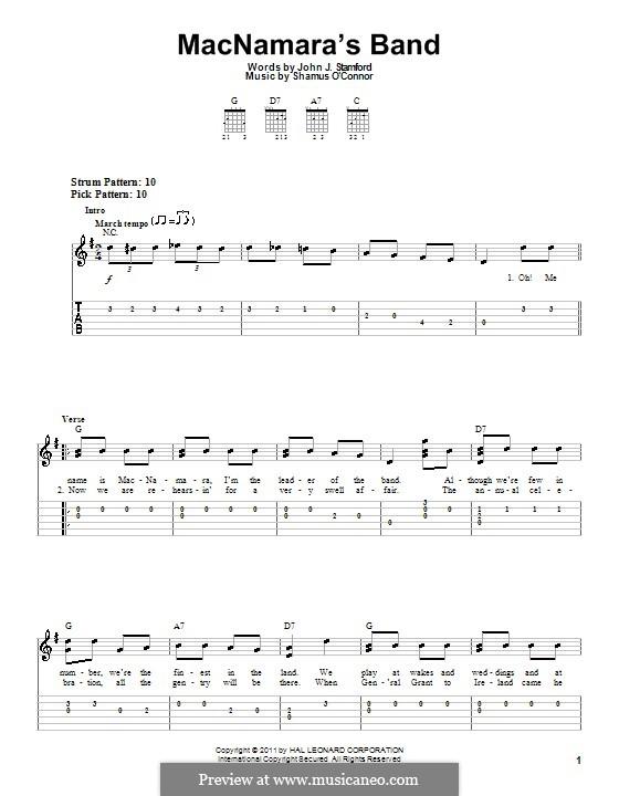 MacNamara's Band: Für Gitarre (Sehr leichte Fassung) by Shamus O'Connor