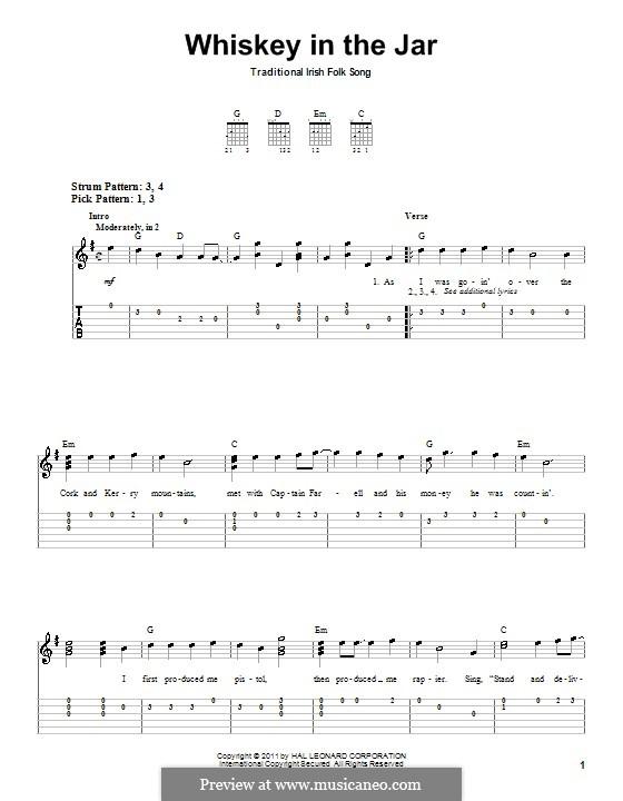 Whiskey in the Jar: Für Gitarre (Sehr leichte Fassung) by folklore