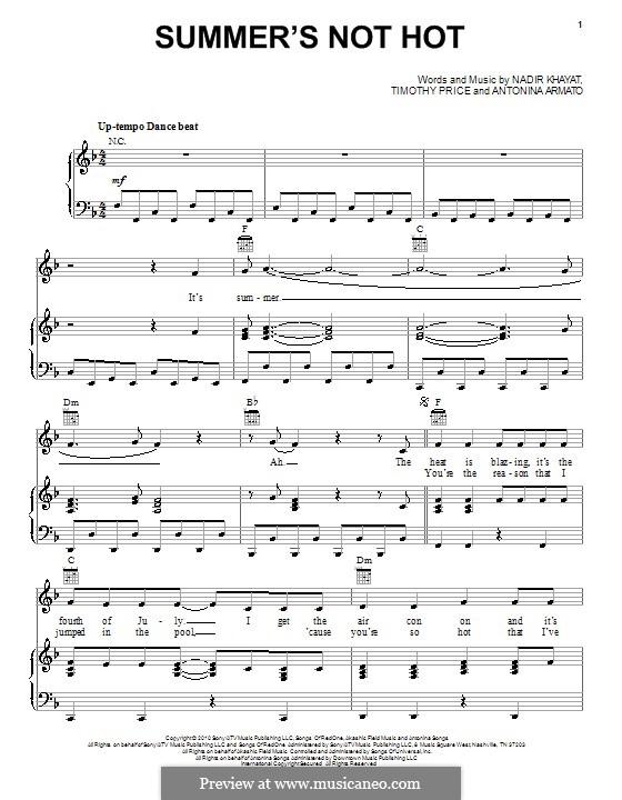 Summer's Not Hot (Selena Gomez & The Scene): Für Stimme und Klavier (oder Gitarre) by RedOne, Antonina Armato, Timothy Price