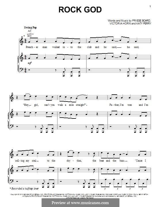 Rock God (Selena Gomez & The Scene): Für Stimme und Klavier (oder Gitarre) by Katy Perry, Printz Board, Victoria Horn