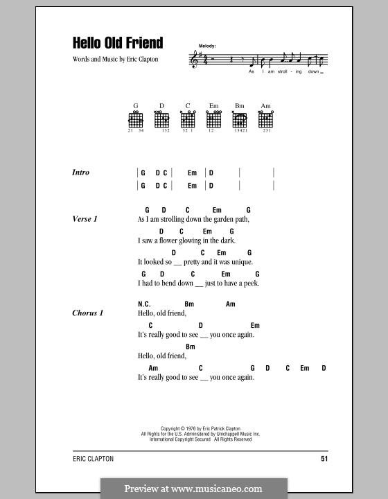 Hello Old Friend: Text und Akkorde by Eric Clapton