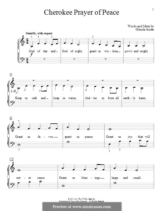 Cherokee Prayer Of Peace: Für Klavier by Glenda Austin