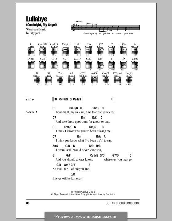 Lullabye (Goodnight, My Angel): Text und Akkorde by Billy Joel