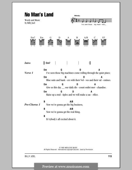 No Man's Land: Text und Akkorde by Billy Joel