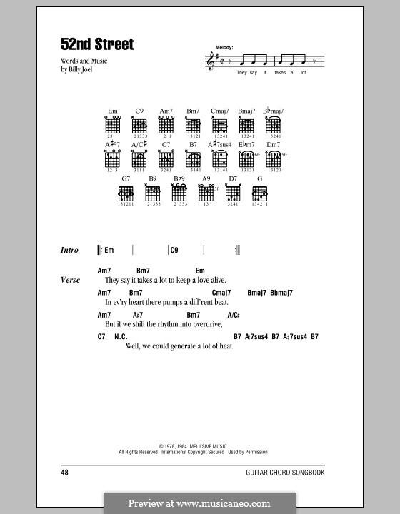 52nd Street: Text und Akkorde by Billy Joel
