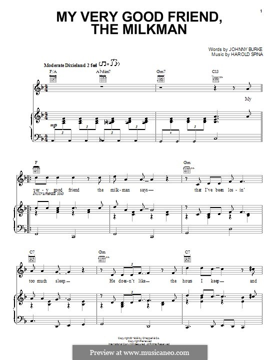 My Very Good Friend the Milkman: Für Stimme und Klavier (oder Gitarre) by Harold Spina