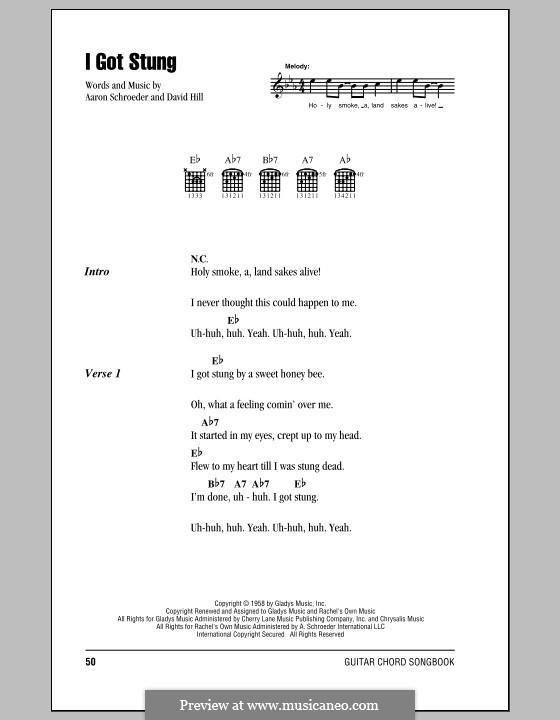 I Got Stung (Elvis Presley): Text und Akkorde by Aaron Schroeder, David Hill