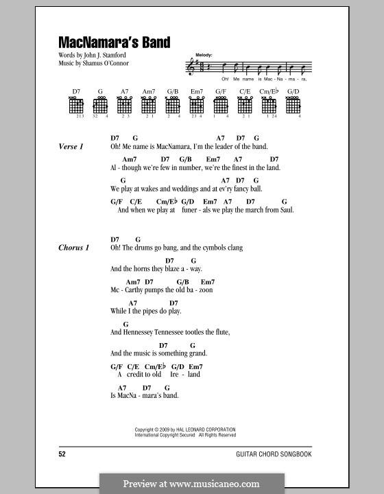MacNamara's Band: Text und Akkorde by Shamus O'Connor