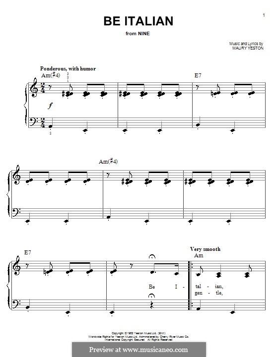 Be Italian: Einfache Noten für Klavier by Maury Yeston