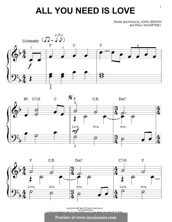 All You Need Is Love (The Beatles): Für Klavier (sehr leichte Fassung) by John Lennon, Paul McCartney