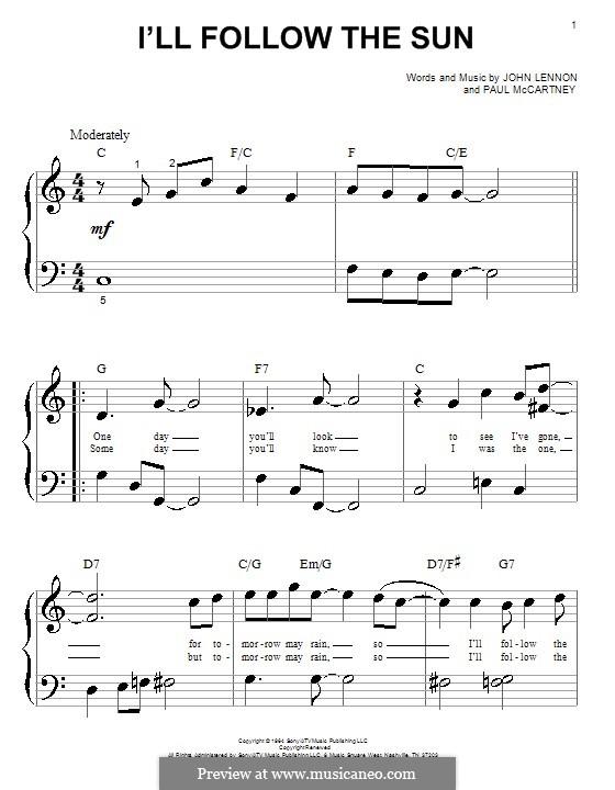 I'll Follow the Sun (The Beatles): Für Klavier (sehr leichte Fassung) by John Lennon, Paul McCartney