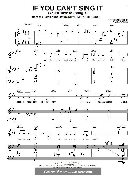 If You Can't Sing It (You'll Have to Swing It): Für Stimme und Klavier by Sam Coslow