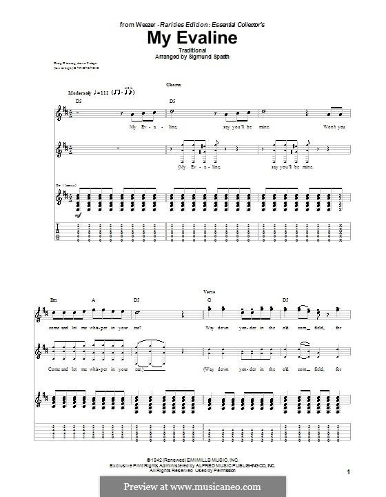My Evaline: Für Gitarre mit Tabulatur by folklore