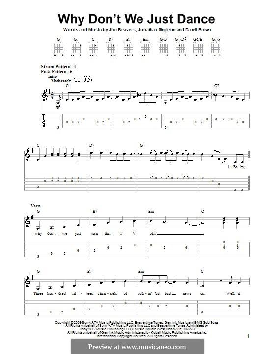 Why Don't We Just Dance (Josh Turner): Für Gitarre (Sehr leichte Fassung) by Darrell Brown, Jim Beavers, Jonathan Singleton
