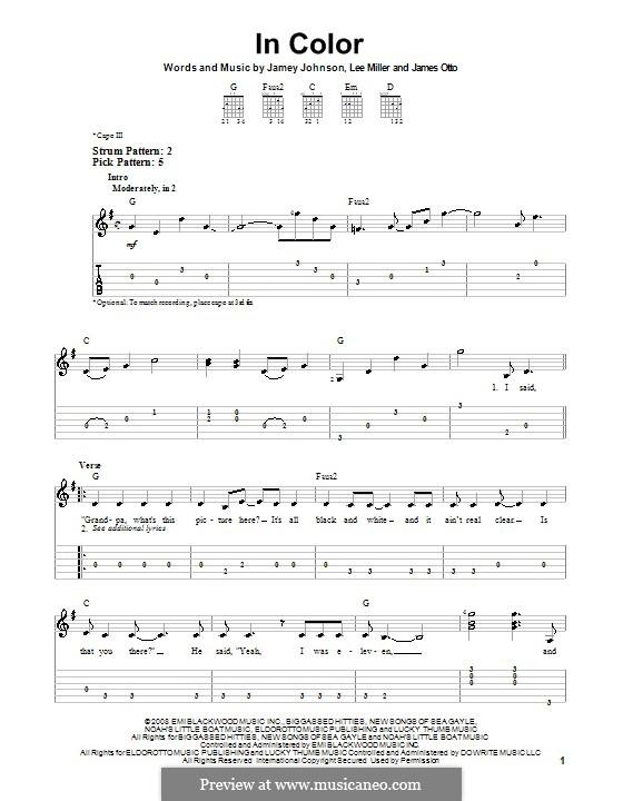 In Color: Für Gitarre (Sehr leichte Fassung) by James Otto, Lee Thomas Miller