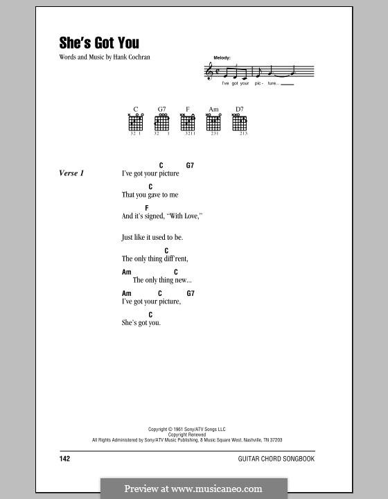 She's Got You (Patsy Cline): Text und Akkorde by Hank Cochran