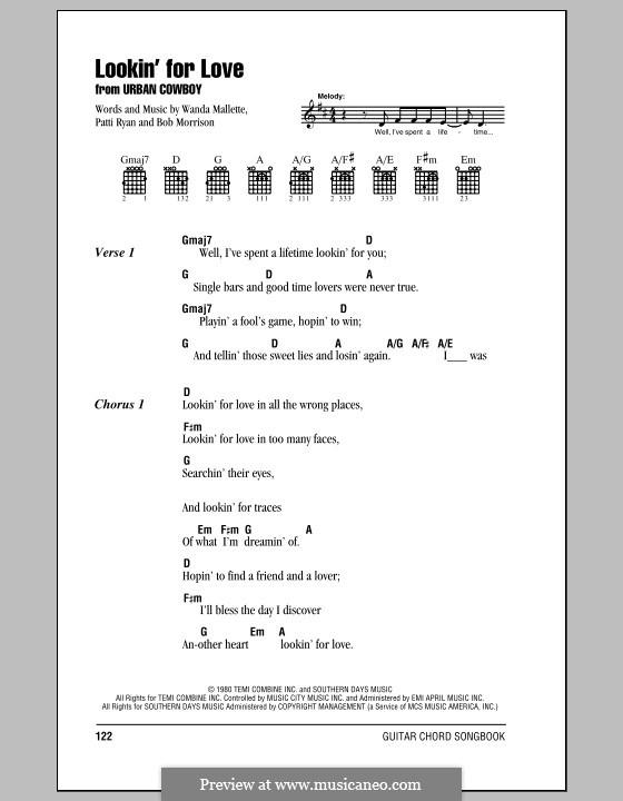 Lookin' for Love (Johnny Lee): Text und Akkorde by Bob Morrison, Patti Ryan, Wanda Mallette